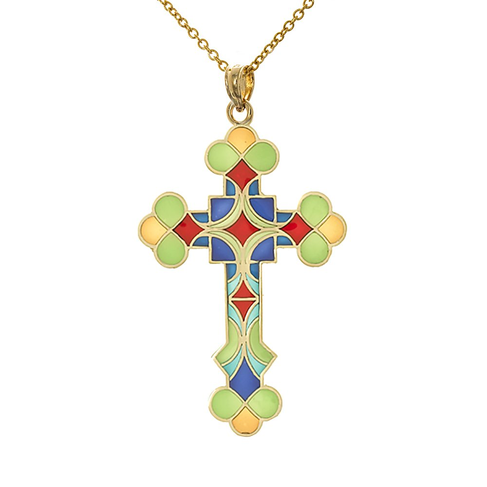 14k Yellow Gold Religious Necklace Pendant with Chain, Stained Glass Enamel Cross Square Center & Scalloped Tips