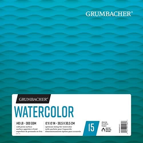 Grumbacher 水彩紙パッド 140ポンド / 300 GSM 12 x 12 Inches ホワイト