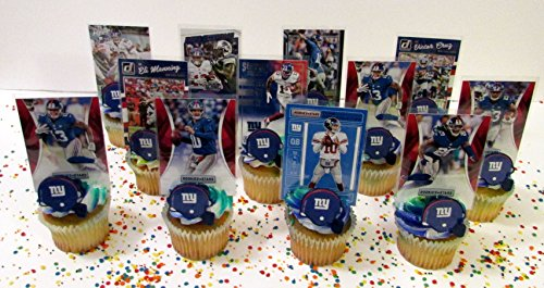 New York Giants 24 Piece Football Birthday Cupcake Topper Party Favor (New York Giants Cake)