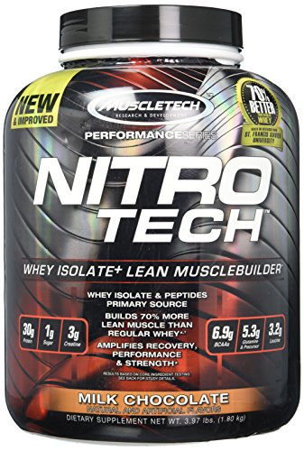 Whey Protein Powder | MuscleTech Nitro-Tech Whey Protein Isolate + Peptides | Lean Protein Powder wi…