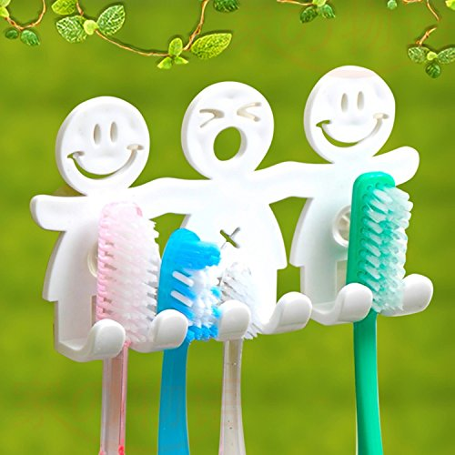 Toothbrush Holder Wall Suction Smile Face Bathroom Kitchen Toothbrush Towel Holder Wall Sucker Hook Popular Toilets New (Sucker Bunny Covers)