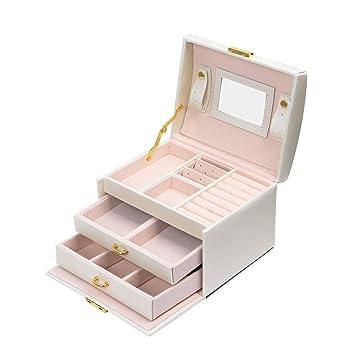 Meerveil Caja Joyero Organizador, Joyero Caja Almacenamiento con 3 cajones Cuero PU con Espejo y Cerradura, Regalo para Mujer (Blanco): Amazon.es: Hogar
