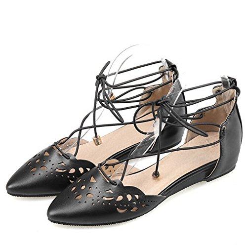 COOLCEPT Mujer Comodo Puntiagudo Planos Sandalias Gladiator Cordones Zapatos Negro