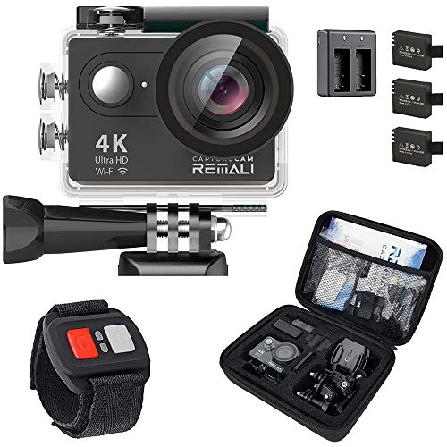 REMALI CaptureCam 4K Ultra HD and 12MP Waterproof Sports Action Camera Kit with Carrying Case, 3 Batteries, Dual Battery Charger, 2