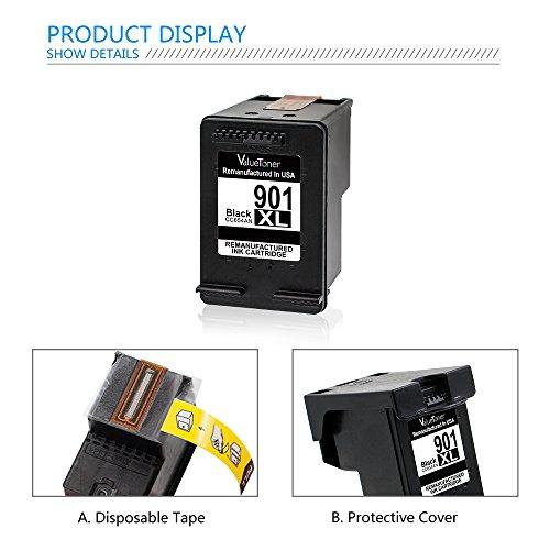 Valuetoner Remanufactured Ink Cartridge Replacement for 901XL 901 XL (2 Black) CZ075FN CC654AN High Yield, work with Officejet 4500, J4524, J4540, J4550, J4580, J4624, J4680 printers Photo #7