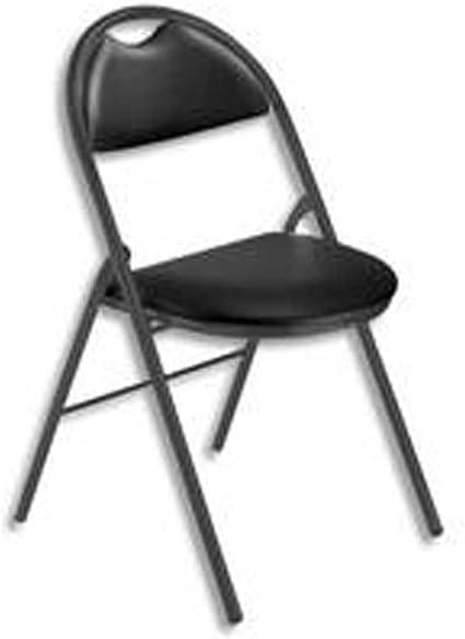 Chaise pliante Arioso en simili cuir noir, 4 pieds tube