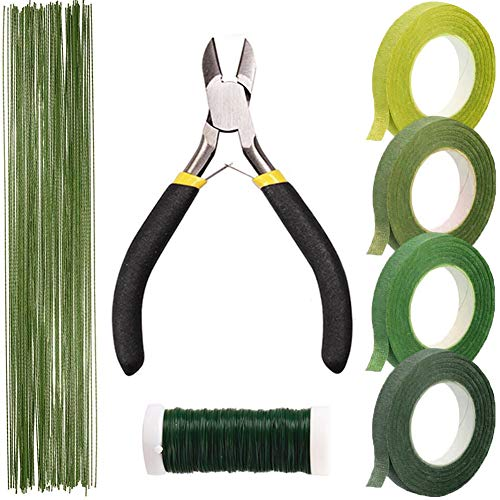 Floral Arrangement Kit Floral Tools Wire Cutter,4 Rolls Green Floral Tape,1 Pcs Floral Tools Wire Cutter,150Pcs 30Gauge Floral Stem Wire,0.4MM Floral Stem Wire by Aimiz