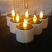HAPPY ELEMENTS 6 piezas de Solar Powered Led decoración de la boda romántica vela blanca caliente de la luz del té