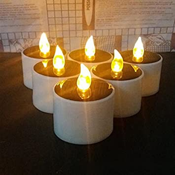 Amazon.com Solar Candles Lights Lemon Hour Outdoor LED Solar Tea Lights with Romantic Atmosphere Solar Energy Candle L& for Home Party Valentine and ... & Amazon.com: Solar Candles Lights Lemon Hour Outdoor LED Solar Tea ...