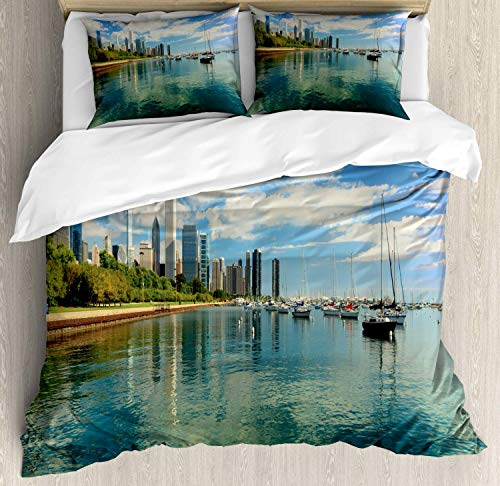 BABE MAPS Bedding Set 3pc Duvet Cover Set King Size Lake Michigan Scenery with A Yacht Downtown Chicago Skyline Panoramic Landscape Comforter Quilt Cover Sets with 2 Pillow Shams, Illinois
