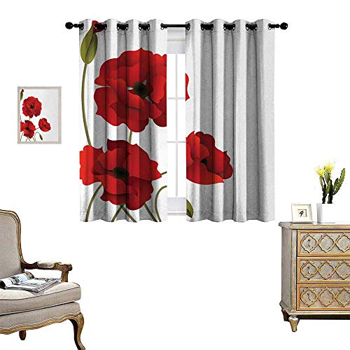 oom Darkening Wide Curtains Poppy Flowers Vivid Petals with Buds Pastoral Purity Mother Earth Nature Design Decor Curtains by W72 x L63 Red Green ()