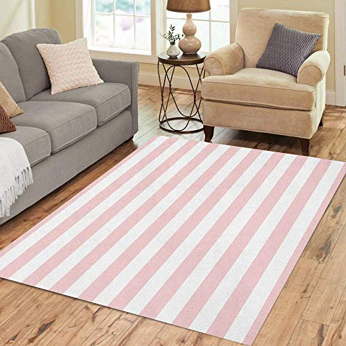 Pinbeam Area Rug Watercolor Abstract Pattern Pink and White Stripes Baby Home Decor Floor Rug 5' x 7' Carpet