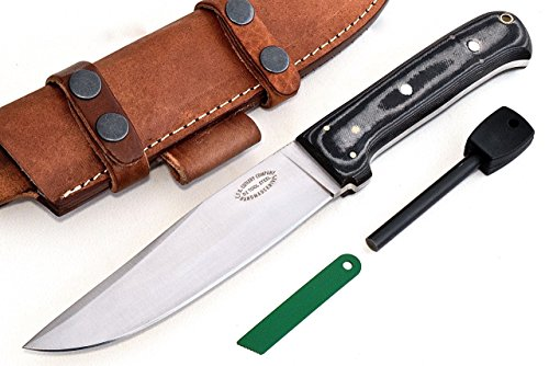 CFK Cutlery Company USA - Trail BOSS II - Custom Handmade D2 Tool Steel Camo Micarta Large Bushcraft Convex-Flat Grind Hunting Skinning Knife with Leather Sheath & Fire Starter Rod Set CFK39