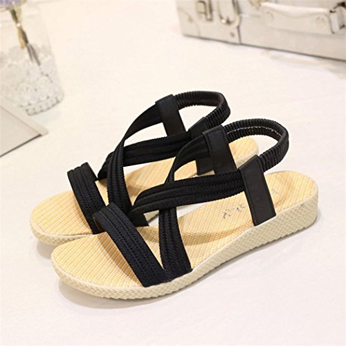 Peep Elastic Shoes ANBOO Black Leisure Sandals Women Bandage Outdoor Flat Bohemia Toe xxAS0FX