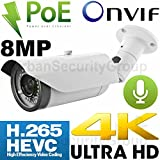 Cheap USG Business Grade Ultra 4K 8MP 3840×2160 @ 30FPS Sony IMX274 Chip H.265 IP Bullet Security Camera : RCA Audio, 8MP 3.3-12mm Lens, 64GB microSD, Power Over Ethernet, IR LEDs, Weatherproof, ONVIF 2.4