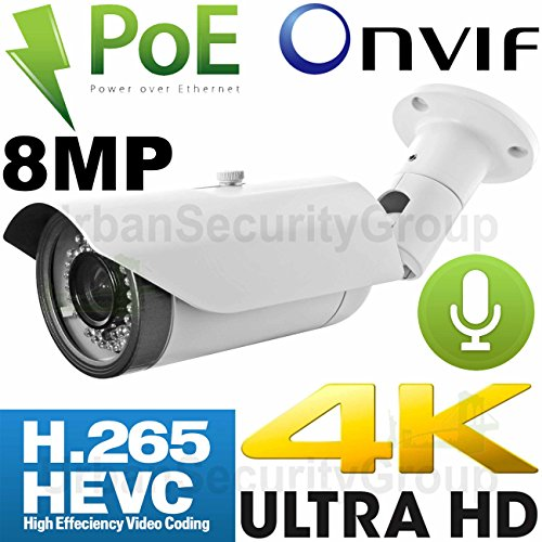 USG Business Grade Ultra 4K 8MP 3840x2160 @ 30FPS Sony IMX274 Chip H.265 IP Bullet Security Camera + RCA Audio : 8MP 3.3-12mm Lens, Power Over Ethernet, 42x IR LEDs, Weatherproof, ONVIF 2.4 by Urban Security Group