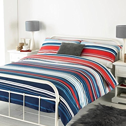 HORIZONTAL GRADED STRIPE BLUE BRUSHED COTTON USA QUEEN SIZE (COMFORTER COVER 230 X 220 - UK KING SIZE) (PLAIN NAVY BLUE FITTED SHEET - 152 X 200CM + 25 - ()