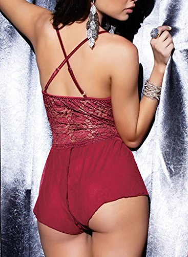 3f0a70576 ALLureLove Sexy Lingerie Open Crotch Leotard Teddy Nightwear Lace Miniskirt  Babydoll (Wine Red