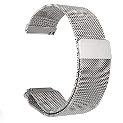 Loveblue For Pebble Time 22mm Magnetic Milanese Loop Stainless Steel Band Replacement Accessories For Pebble Timepebble Time Steel, Samsung Gear S3 Frontierclassic(milanese-silver)