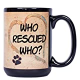 Best The Grandparent Gift Aunt Mugs - Who Rescued Who Pawmarks on Black 15 ounce Review
