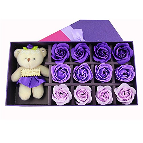 Scented Box (YYaaloa 12 Flora Scented Bath Soap Rose Flowers Preserved Purple gradient Rose Scented with Little Bear Doll in Gift Box for Valentine's Day (12pcs Purple gradient))