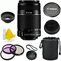 Canon EF-S 55-250mm f/4-5.6 IS II Celltime Premium Zoom Lens Kit for Canon EOS 7D, 60D, EOS Rebel SL1, T1i, T2i, T3, T3i, T4i, T5i, XS, XSi, XT, XTi Digital SLR Cameras