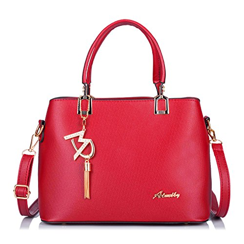 Bolso de Cuero mujer Bolso de Hombro moda Bolso de Asa superior con Linda Caída Colgante Bolso de señora de patrón-Negro Rojo