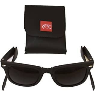 b4c6e9d306 Amazon.com  Modern Black Square Foldable Sunglasses with Case (Black ...