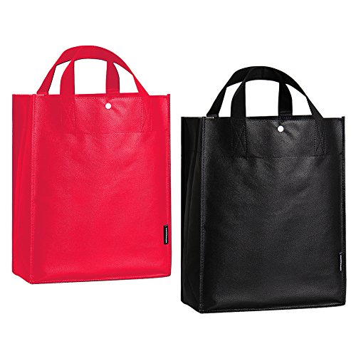 [ORICSSON Reusable Storage Grocery Bag Shopping Tote with Reinforced Handles,5 Black+5 Red] (Recycled Material Costume)