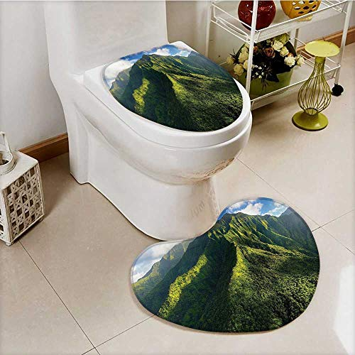vanfan Non-Slip Bathroom Mats Set Aerial of Jungle Forest the Mountains Tropical Exotic Hawaii Nature Look Customized Heart shaped foot pad by vanfan