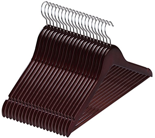 Premium Wooden Hangers - (Pack of 20) - Suit Hangers - Walnut Finish - by Utopia Home