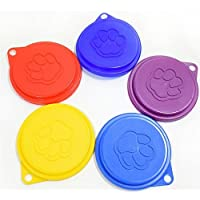 2 tapas reutilizables 3 en 1 para almacenamiento de comida para mascotas, gatos, perros, lata con impresión de huellas al azar