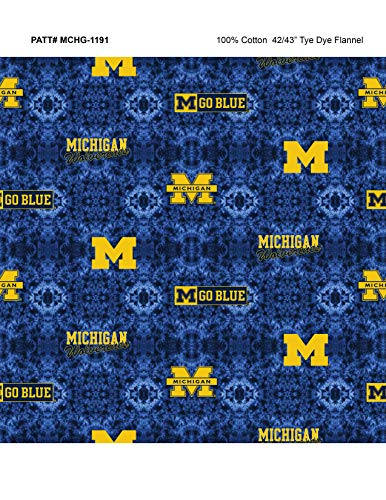 University of Michigan TIE DYE Flannel Fabric-Sold by The Yard-College Flannel ()