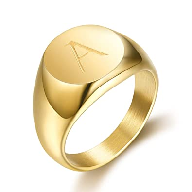 en soldes 711b8 0425a BOBIJOO Jewelry - Chevalière Bague Homme Initiale Gravée au Choix Acier  Inoxydable Plaqué Or 13mm
