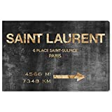 """designer home decor The Oliver Gal Artist Co. Fashion and Glam Wall Art Canvas Prints 'Saint Sulpice Road Sign' Home Décor, 15"""" x 10"""", Black, Gold"""