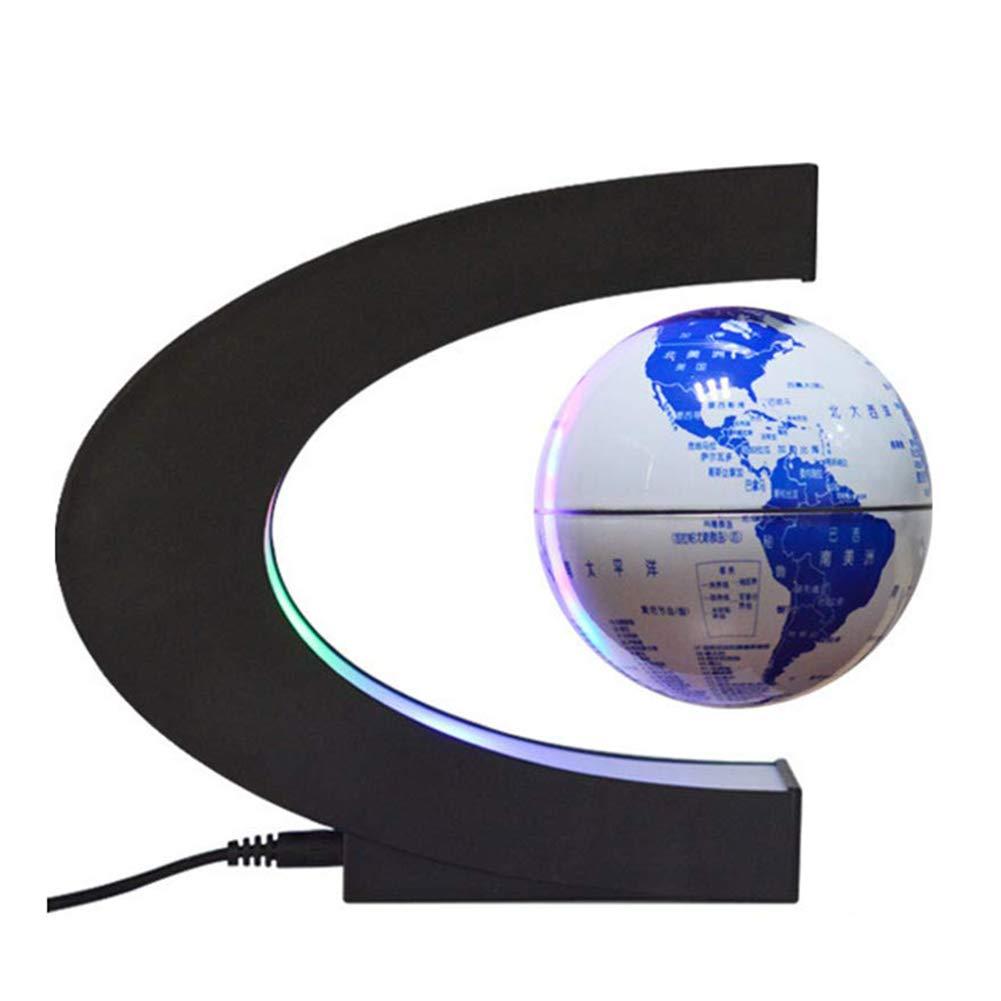 Hplights C-Form Floating Globe Beleuchtet, der Weltkarte mit LED-Lichtern Erde Ballon zur Dekoration des Schreibtischs, Geburtstagsgeschenk - Blaues und weißes Porzellan - 4 Zoll