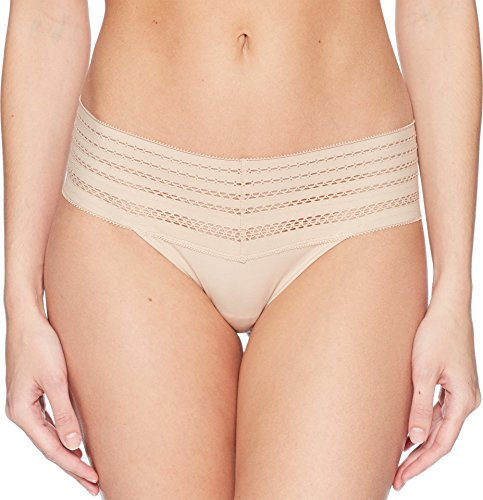 (DKNY Intimates Women's Classic Cotton Wide Lace Trim Thong Cashmere Medium)