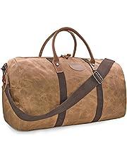 Mens Travel Duffle Weekend Overnight Bag Waterproof Vintage Canvas Genuine Leather Holdall Satchel Totes Bag Grey