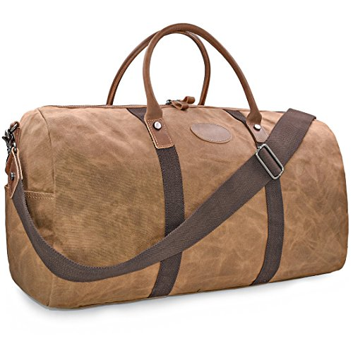 - Travel Duffel Bag Waterproof Canvas Overnight Bag Leather Weekend Oversized Carryon Handbag Brown