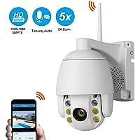 Cámaras de Seguridad Inalámbrica,1080P Full Color IP Cámara de Vigilancia con PTZ , IP66 Impermeable, 5X Zoom, 2 Vías Audio y Detección de Movimiento IP CCTV Sistema Seguridad para Interior/Exterior