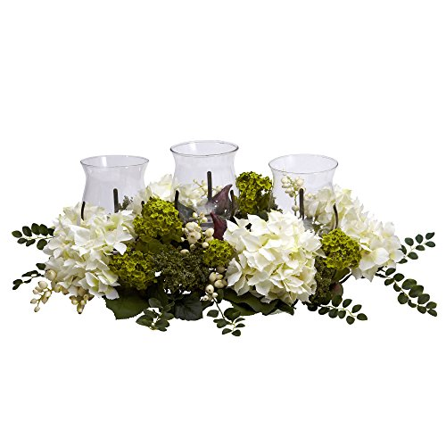 - Nearly Natural 4806 Snowball Hydrangea Triple Candelabrum Color White Christmas Decoration