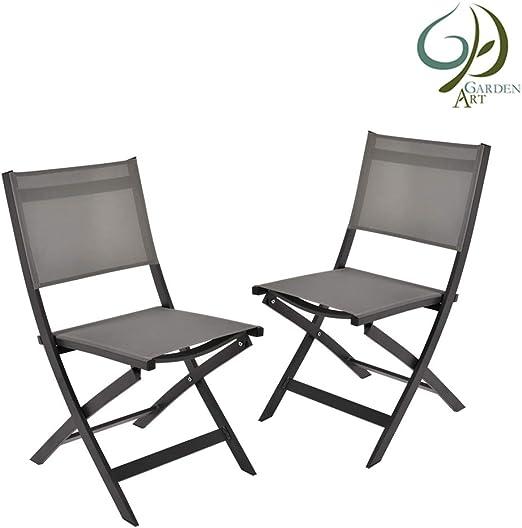 Garden Art Garden Premium Line 2 Sillas de jardín - Silla Plegable de Aluminio Resistente a la Intemperie Muebles de jardín: Amazon.es: Jardín