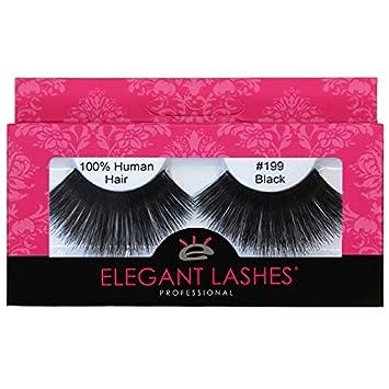 1170e9392a7 Elegant Lashes #199 Black Thick Super-Long 100% Human Hair False Eyelashes  for