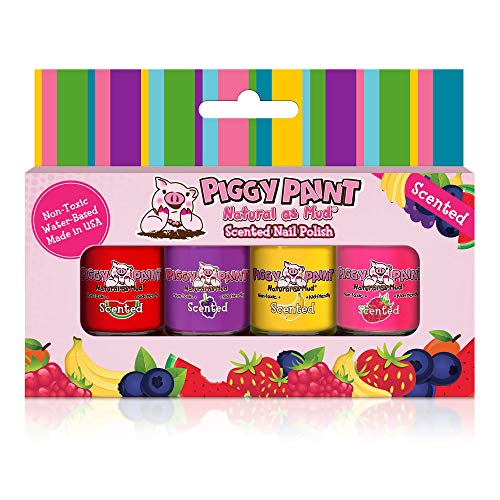 Piggy Paint - 100% Non-toxic Girls Nail Polish, Safe, Chemical Free, Low Odor for Kids - 4 Polish Gift Set - Scented Silly Unicorns -
