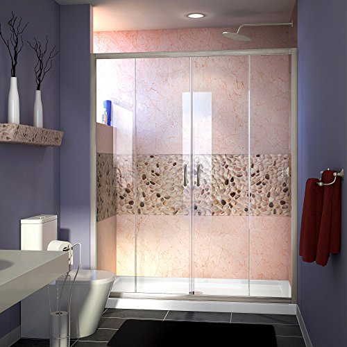 DreamLine Visions 56-60 in. W x 72 in. H Framed Sliding Shower Door in Brushed Nickel, SHDR-1160726-04