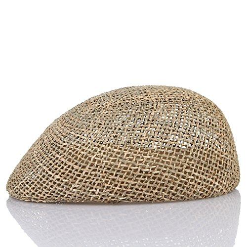 Mesh Straw Cap - GEMVIE Men's Seagrass Ivy Cap Gatsby Newsboy Straw Hat Mesh Summer Cabbie Flat Cap Beige
