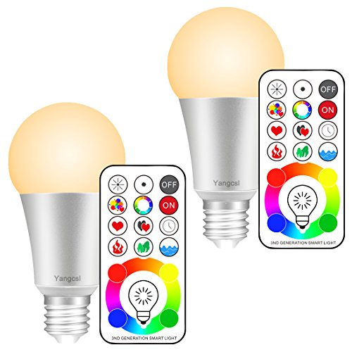 Yangcsl E26 Dimmable Color Changing LED Light Bulbs with Remote Control, Memory & sync, Warm White & RGB Multi Color, 60 Watt Equivalent (2 Pack)