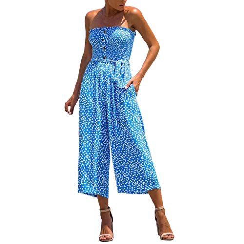 - UOFOCO Cold Shoulder Jumpsuit Women Flower Casual Wide Leg Pants Outfit with Pocke Blue