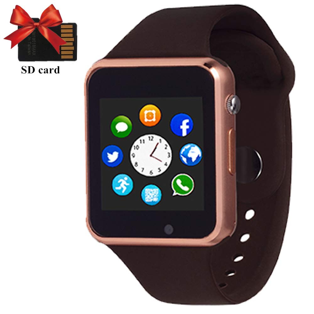 YONSON Smart Watch, Bluetooth Smartwatch Phone with Camera SIM Card Slot Music Player for Android iOS Phones for Men Women,Gold