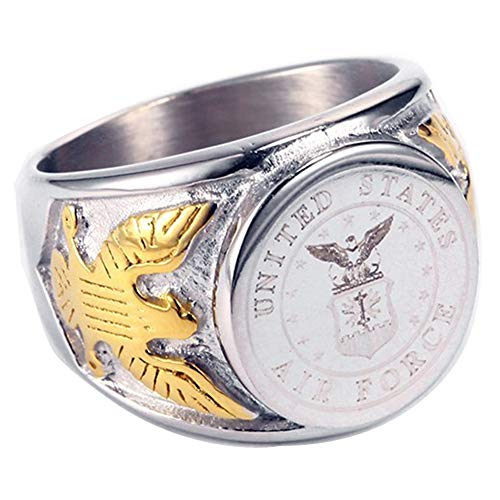 JAJAFOOK Vintage Titanium Steel US Military Air Force Ring Eagle Medal Rings for Men, Silver/Gold/Black (Silver-Gold, 7) ()